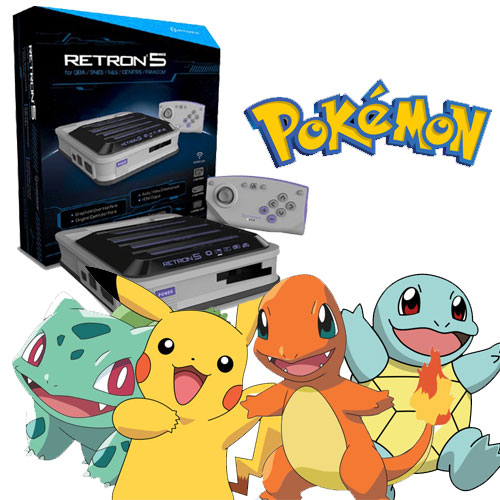 Retron 5 with Pokemon Game Boy and Game Boy Advance Games for Sale.